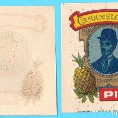 Etiquetas antiguas: ENVOLTORIO CARAMELOS CINE. PIÑA. CHARLES CHAPLIN, CHARLOT. 1920'S.. Lote 171612997