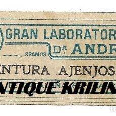 Etiquetas antigas: ETIQUETA GRAN LABORATORIO DR. ANDREU .- TINTURA AJENJOS. Lote 172052894