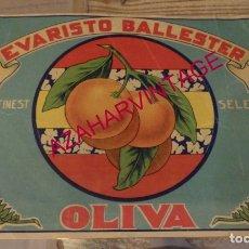 Etiquetas antiguas: ETIQUETA NARANJA-OLIVA - EVARISTO BALLESTER.-265 X 190 MM-. Lote 172141119