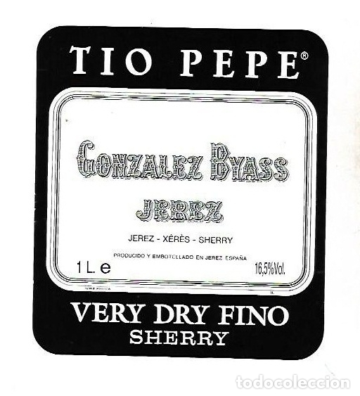 ETIQUETA DE VINO. GONZALEZ BYASS JEREZ. VERY DRY FINO SHERRY (Coleccionismo - Etiquetas)