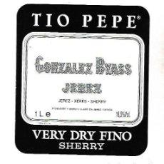 Etiquetas antiguas: ETIQUETA DE VINO. GONZALEZ BYASS JEREZ. VERY DRY FINO SHERRY. Lote 172617184