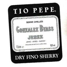 Etiquetas antiguas: ETIQUETA DE VINO. GONZALEZ BYASS JEREZ. DRY FINO SHERRY. Lote 172617205