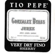 Etiquetas antiguas: ETIQUETA DE VINO. GONZALEZ BYASS JEREZ. VERY DRY FINO SHERRY. Lote 172617280