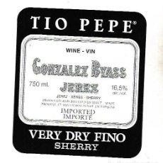 Etiquetas antiguas: ETIQUETA DE VINO. GONZALEZ BYASS JEREZ. VERY DRY FINO SHERRY. Lote 172617292