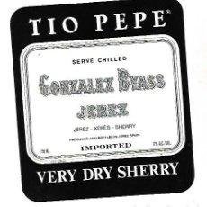 Etiquetas antiguas: ETIQUETA DE VINO. GONZALEZ BYASS JEREZ. VERY DRY SHERRY. Lote 172617393