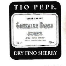 Etiquetas antiguas: ETIQUETA DE VINO. GONZALEZ BYASS JEREZ. DRY FINO SHERRY. Lote 172617443