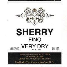 Etiquetas antiguas: ETIQUETA DE VINO. GONZALEZ BYASS. SHERRY FINO VERY DRY. Lote 172622218