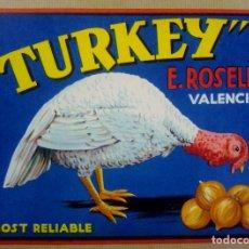 Etiquetas antiguas: TURKEY PAVO CEBOLLA. ETIQUETA CEBOLLA AÑOS 50 . E ROSELLO., VALENCIA. Lote 173122017