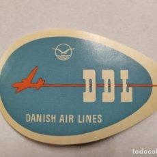 Etiquetas antiguas: DDL-DANISH AIR LINES-ETIQUETA DE AVION-VER FOTOS-(61.496). Lote 174101279