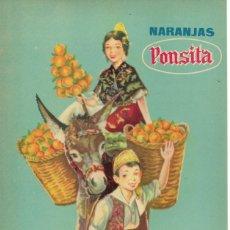 Etichette antiche: ANTIGUA ETIQUETA DE NARANJAS PONSITA, TABERNES DE VALLDIGNA, VALENCIA. Lote 248797285