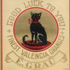 Etichette antiche: ANTIGUA ETIQUETA DE NARANJAS GATO NEGRO / GOOD LUCK TO YOU. VALENCIA. Lote 272856098