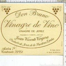 Etiquetas antiguas: ETIQUETA VINAGRE DE VINO JUAN VICENTE VERGARA JEREZ DE LA FRONTERA.. Lote 222279941