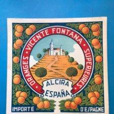 Etiquetas antiguas: 15 ANTIGUAS ETIQUETAS DE NARANJAS - VICENTE FONTANA, ALCIRA, VALENCIA. Lote 214832365