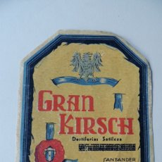 Etiquetas antiguas: ETIQUETA GRANDE / GRAN KIRSCH / DESTILERIA SOTILEZA / SANTANDER. Lote 177502129