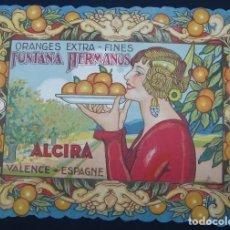 Etichette antiche: ANTIGUA ETIQUETA DE NARANJAS ESTILO MODERNISTA FONTANA HERMANOS ALCIRA. Lote 248799020