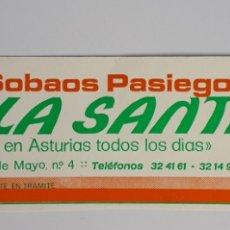 Etiquetas antiguas: GIJON. SOBAOS PASIEGOS LA SANTINA.. Lote 179062662