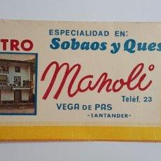 Etiquetas antiguas: VEGA DE PAS - SANTANDER - BAR EL CENTRO ESPECIALIDAD EN: SOBAOS Y QUESADAS MANOLI.. Lote 179064010