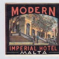 Etiquetas antiguas: ETIQUETA DEL HOTEL MODERN IMPERIAL. MALTA.. Lote 179101311
