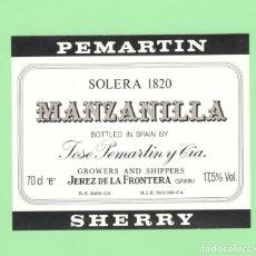 Etiquetas antiguas: ETIQUETA ORIGINAL: SOLERA 1820. MANZANILLA - JOSÉ PEMARTIN Y CIA - 11 X 9 CM - NUEVA SIN USO.. Lote 179522058