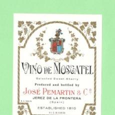 Etiquetas antiguas: ETIQUETA ORIGINAL: VINO DE MOSCATEL - JOSÉ PEMARTIN & CIA - 13 X 9,5 CM - NUEVA SIN USO.. Lote 179523283