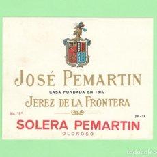 Etiquetas antiguas: ETIQUETA ORIGINAL: SOLERA PEMARTIN - JOSÉ PEMARTIN - 11 X 9 CM - NUEVA SIN USO.. Lote 179523640