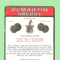 Etiquetas antiguas: ETIQUETA ORIGINAL: RICH CREAM - JOSÉ PEMARTIN - 15 X 12 CM - NUEVA SIN USO.. Lote 179524417
