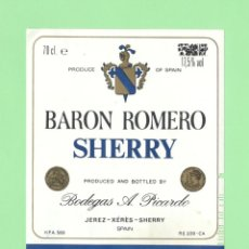 Etiquetas antiguas: ETIQUETA ORIGINAL: CREAM. BARON ROMERO SHERRY - BODEGAS PICARDO - 12 X 9,5 CM - NUEVA SIN USO.. Lote 179525342