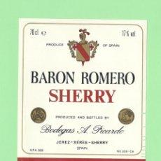 Etiquetas antiguas: ETIQUETA ORIGINAL: MEDIUM DRY. BARON ROMERO SHERRY - BODEGAS PICARDO - 12 X 9,5 CM - NUEVA SIN USO.. Lote 179525447