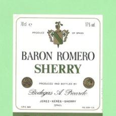 Etiquetas antiguas: ETIQUETA ORIGINAL: PALE DRY. BARON ROMERO SHERRY - BODEGAS PICARDO - 12 X 9,5 CM - NUEVA SIN USO.. Lote 179525528