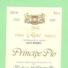 Etiquetas antiguas: ETIQUETA ORIGINAL: VINO RIOJA TINTO - BODEGAS DEL PRINCIPE PIO - 13 X 9,5 CM - NUEVA SIN USO.. Lote 179526187