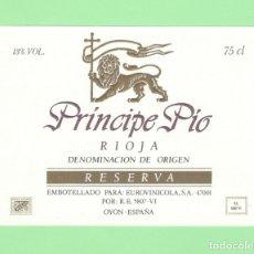 Etiquetas antiguas: ETIQUETA ORIGINAL: RIOJA RESERVA - BODEGAS DEL PRINCIPE PIO - 12,5 X 9 CM - NUEVA SIN USO.. Lote 179526581