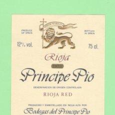 Etiquetas antiguas: ETIQUETA ORIGINAL: RIOJA RED - BODEGAS DEL PRINCIPE PIO - 12 X 9,5 CM - NUEVA SIN USO.. Lote 179526942