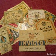 Etiquetas antiguas: DESTILADO POR JOSE COROMINAS. LOTE DE 13 ETIQUETAS + 6 PEQUEÑAS DE CUELLO BOTELLA. (ANTIGUAS). Lote 180122465