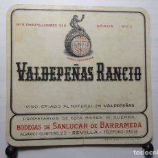 Etiquetas antiguas: ETIQUETA DE UNA BODEGA DE SANLUCAR DE BARRAMEDA... ANTIGUA. Lote 180290857