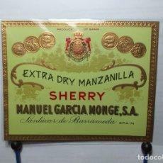 Etiquetas antiguas: ETIQUETA DE UNA BODEGA DE SANLUCAR BDA,.... ANTIGUA. Lote 180290943