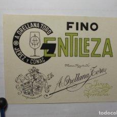 Etiquetas antiguas: ETIQUETA DE UNA BODEGA DE JEREZ DE LA FRONTERA.... ANTIGUA. Lote 180290991