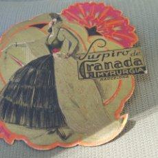 Etiquetas antiguas: SUSPIRO DE GRANADA. MYRURGIA. AÑOS 30. ÚNICO EN T.C.. Lote 180291062