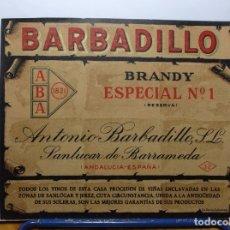 Etiquetas antiguas: ETIQUETA DE UNA BODEGA SANLUCAR BDA..... ANTIGUA. Lote 180298283