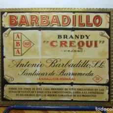 Etiquetas antiguas: ETIQUETA DE UNA BODEGA SANLUCAR BDA..... ANTIGUA. Lote 180298343