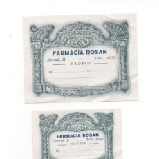 Etiquetas antiguas: ANTIGUAS ETIQUETAS FARMACIA ROSAN MADRID.. Lote 180968563