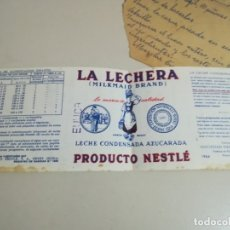 Etiquetas antiguas: ETIQUETA LA LECHERA 1964, COMO SE VE EN LA FOTO REG. GAR 142. Lote 181185878