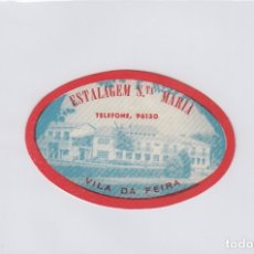 Etiquetas antiguas: ETIQUETA DEL HOTEL ESTALAGEM SANTA MARIA. VILA DA FERIA, PORTUGAL.. Lote 181774051