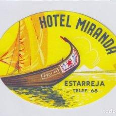 Etiquetas antiguas: ETIQUETA DEL HOTEL MIRANDA. ESTARREJA, PORTUGAL.. Lote 181776153