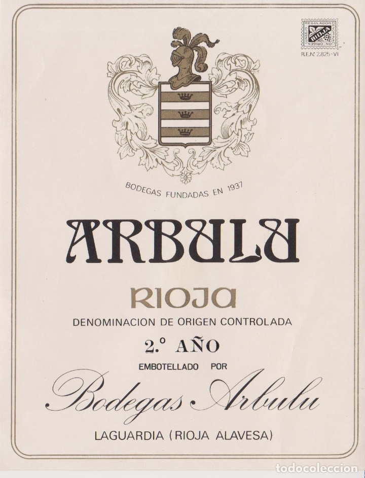 ETIQUETA VINO RIOJA ARBULU 2º. AÑO - BODEGAS ARBULU - LAGUARDIA, RIOJA ALAVESA (Coleccionismo - Etiquetas)
