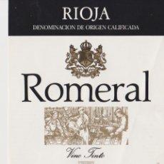 Etiquetas antiguas: ETIQUETA DE VINO TINTO RIOJA ROMERAL - BODEGAS AGE - FUENMAYOR (LOGROÑO). Lote 182580141