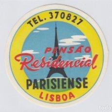 Etiquetas antiguas: ETIQUETA DEL HOTEL PENSAO RESIDENCIAL PARISIENSE. LISBOA, PORTUGAL.. Lote 182632918