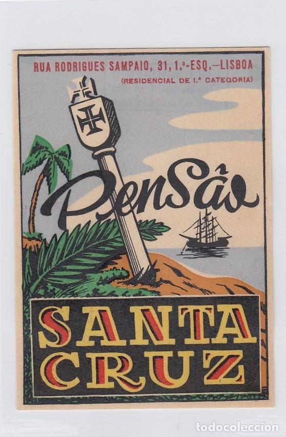 ETIQUETA DEL HOTEL PENSAO SANTA CRUZ. LISBOA, PORTUGAL. (Coleccionismo - Etiquetas)