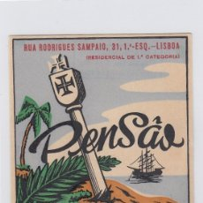 Etiquetas antiguas: ETIQUETA DEL HOTEL PENSAO SANTA CRUZ. LISBOA, PORTUGAL.. Lote 182643336