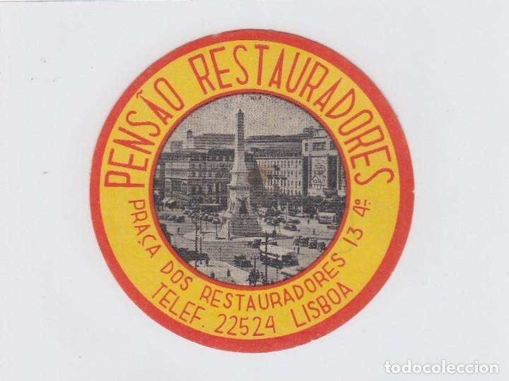 ETIQUETA DEL HOTEL PENSAO RESTAURADORES. LISBOA, PORTUGAL. (Coleccionismo - Etiquetas)