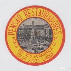 Etiquetas antiguas: ETIQUETA DEL HOTEL PENSAO RESTAURADORES. LISBOA, PORTUGAL.. Lote 182643418